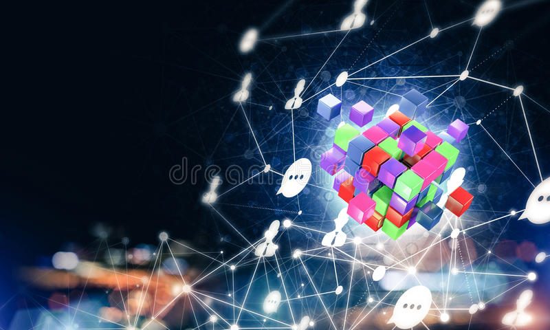 Konzept des Internets und Vernetzung mit digitalem Würfel stellen auf d dar lizenzfreie stockfotos