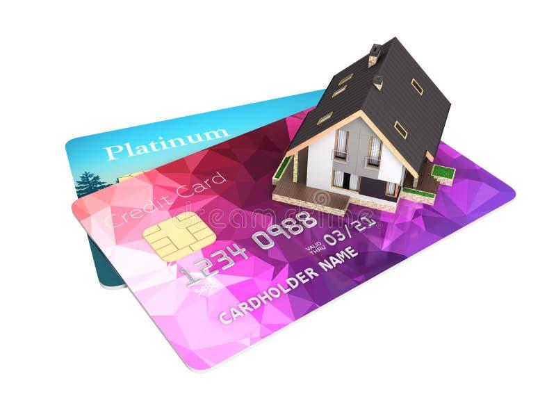 Konzept des Kaufs oder der Zahlung f?r die Unterkunft der Illustration eines Hauses gesetzt auf eine Kreditkarte lokalisiert auf  stock abbildung