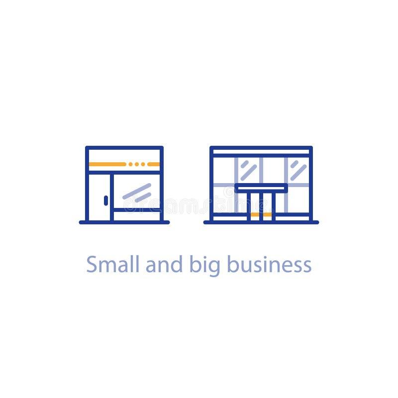 Konzept des kleinem und des großen Geschäfts Vergleiches, des Shops und des Bürogebäudes vektor abbildung