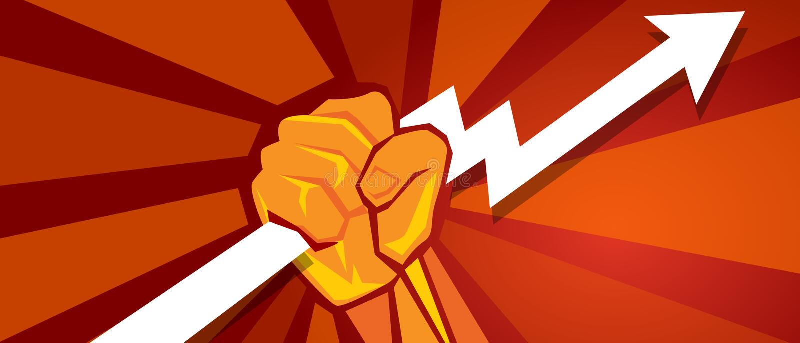 Konzept des Kommunismuspropaganda-Wachstums des Fortschrittsdiagrammwirtschaftsgriffs eigenhändig der starken Macht lizenzfreie abbildung