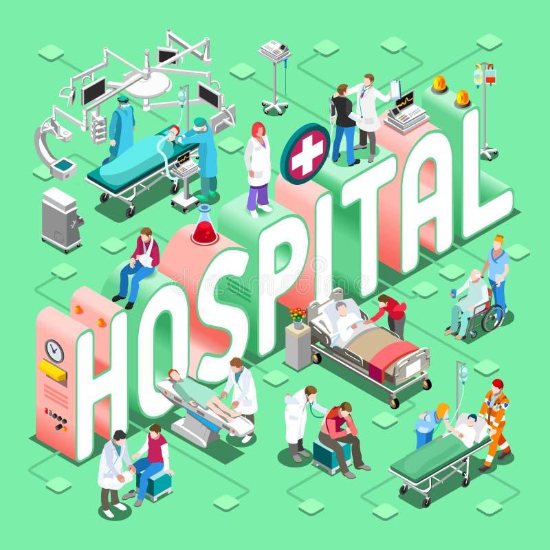 Konzept des Krankenhaus-01 isometrisch lizenzfreie abbildung