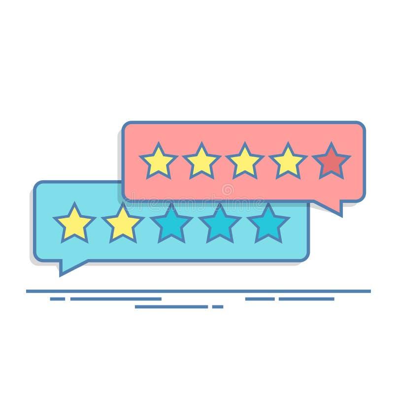 Konzept des Kundenfeedbacks Veranschlagen in Form von Sternen Negative oder positive Bewertung Dialogfeld für die Schnittstelle h stock abbildung