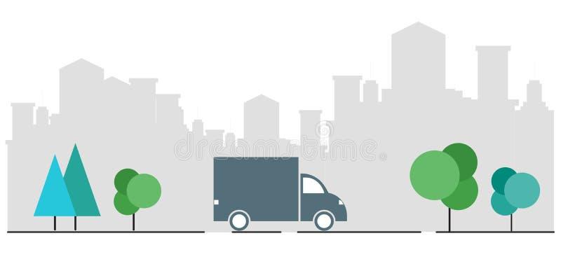 Konzept des Kurierdiensts Überprüfen Sie die Zustelldienstanwendung an Ihrem Handy Lieferung eines LKWs von einer Pappschachtel lizenzfreie abbildung