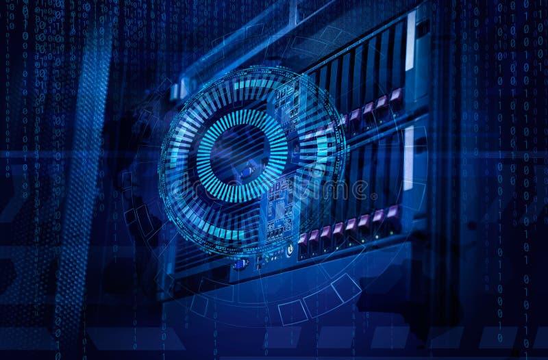 Konzept des Magnetplattenspeicher-Rechenzentrums Informationstechnologie und Datenbank auf technologischem Hintergrund stockfoto
