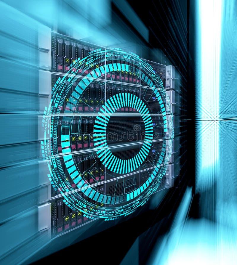 Konzept des Magnetplattenspeicher-Rechenzentrums Informationstechnologie und Datenbank auf technologischem Hintergrund vektor abbildung