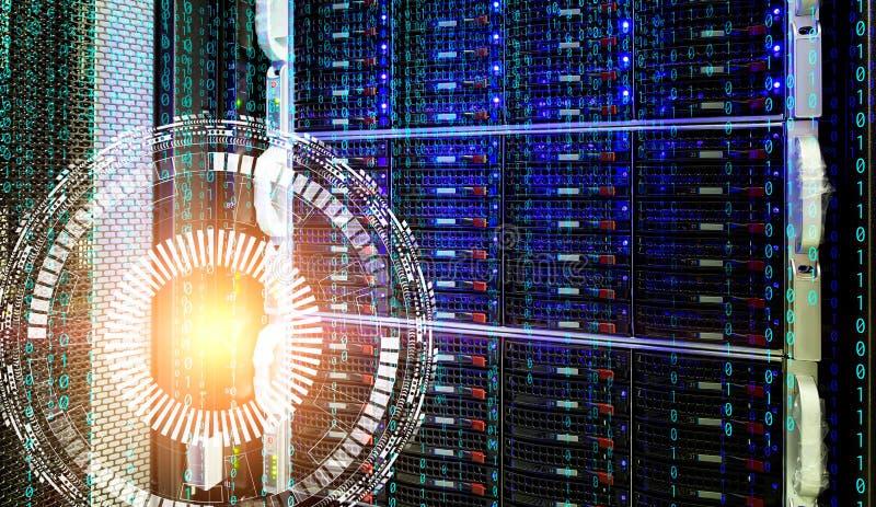 Konzept des Magnetplattenspeicher-Rechenzentrums mit Informationstechnologie und Datenbank auf technologischem Hintergrundhologra lizenzfreies stockbild