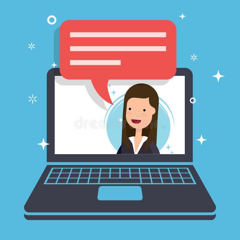 Konzept des Marketing-Antrages Geschäftsfrau oder Manager spricht stock abbildung