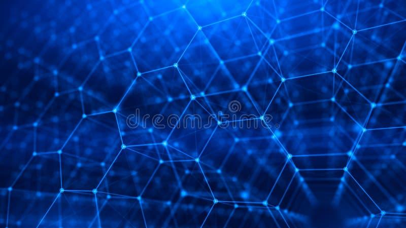 Konzept des Netzes, Internet-Kommunikation - sechseckiger Hintergrund des Gitters 3d lizenzfreie abbildung