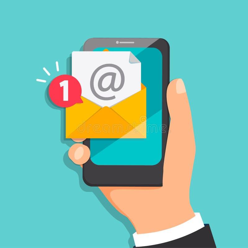 Konzept des neuen Buchstaben kommend zur E-Mail lizenzfreie abbildung