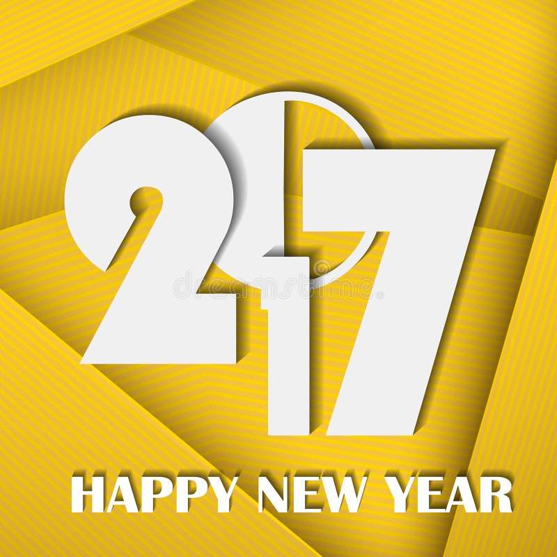 Konzept 2017 des neuen Jahres auf gelbem abstraktem Linecardhintergrund stock abbildung