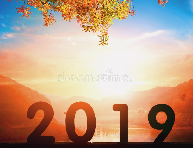 Konzept des neuen Jahres 2019: 2019 am Sonnenunterganghintergrund stockfotos