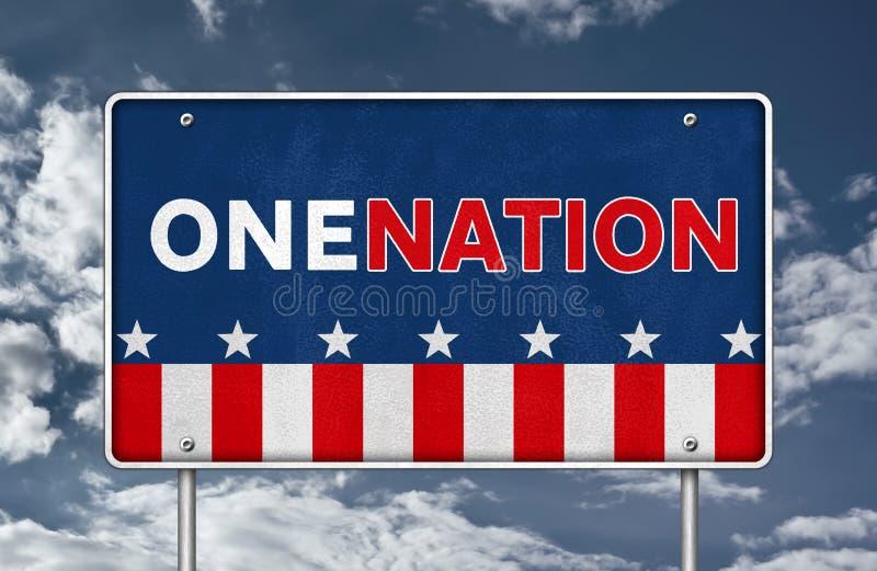 Konzept des 'ONE NATION'-Straßenzeichens stock abbildung