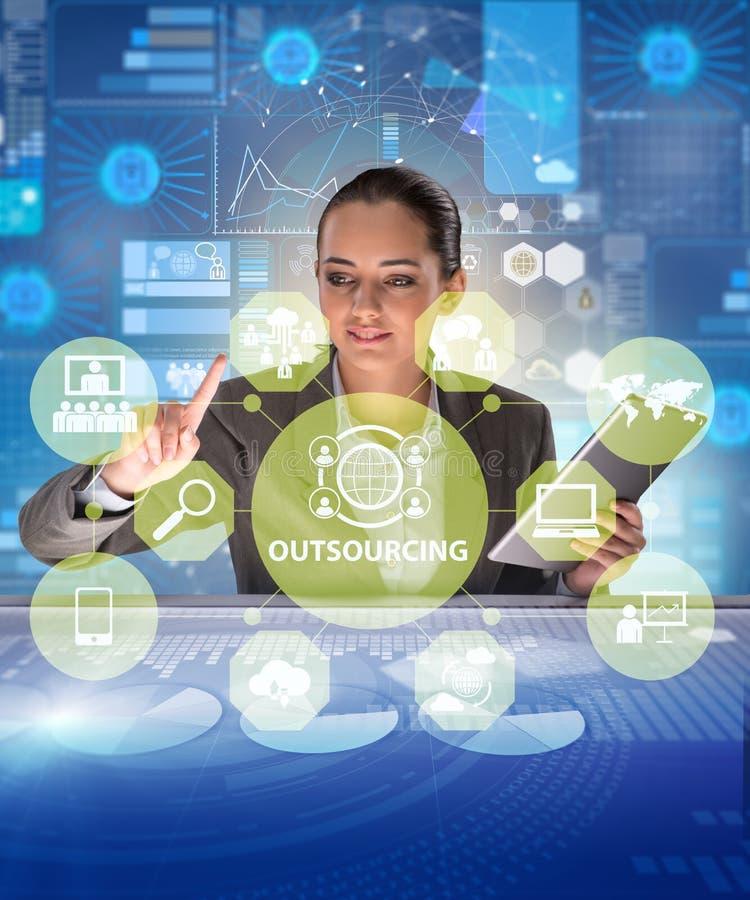 Konzept des Outsourcings im modernen Geschäft stockfotos