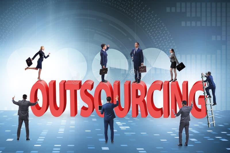 Konzept des Outsourcings im modernen Geschäft lizenzfreie stockfotos