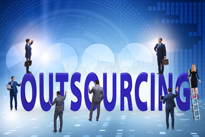 Konzept des Outsourcings im modernen Geschäft stockbild
