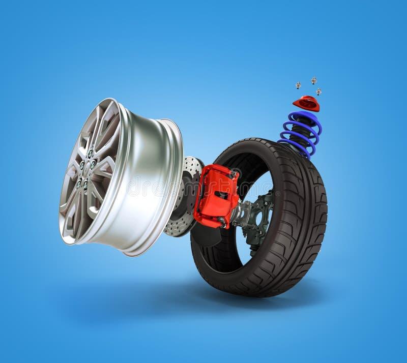 Konzept des Reifenservices Räder, Kanten, Bremsbeläge und Disketten Ca vektor abbildung