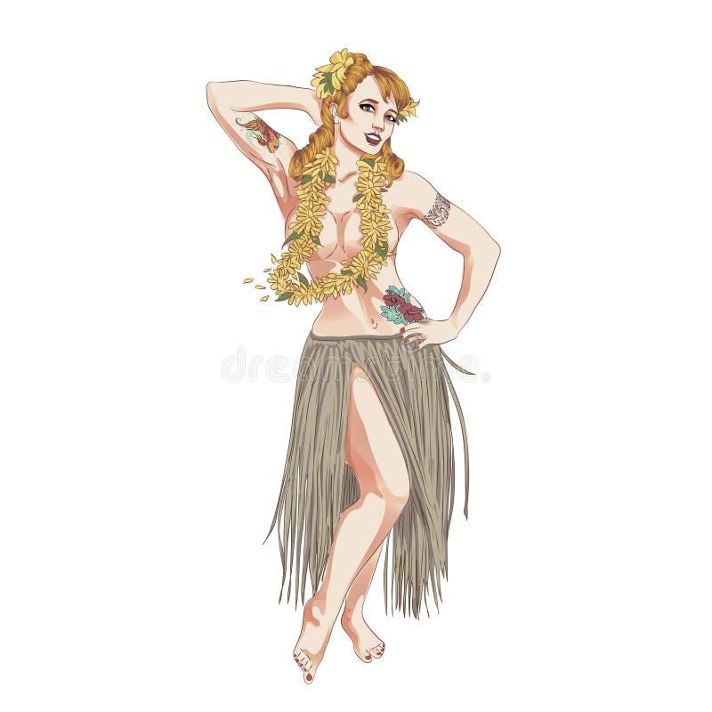 Konzept des Retro- Frauenfrauentanzens im hawaiischen Kleid vektor abbildung