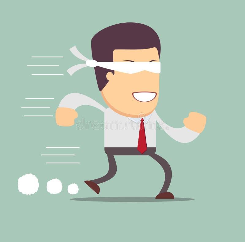 Konzept des Risikos im Geschäft mit blindem Geschäftsmann lizenzfreie abbildung