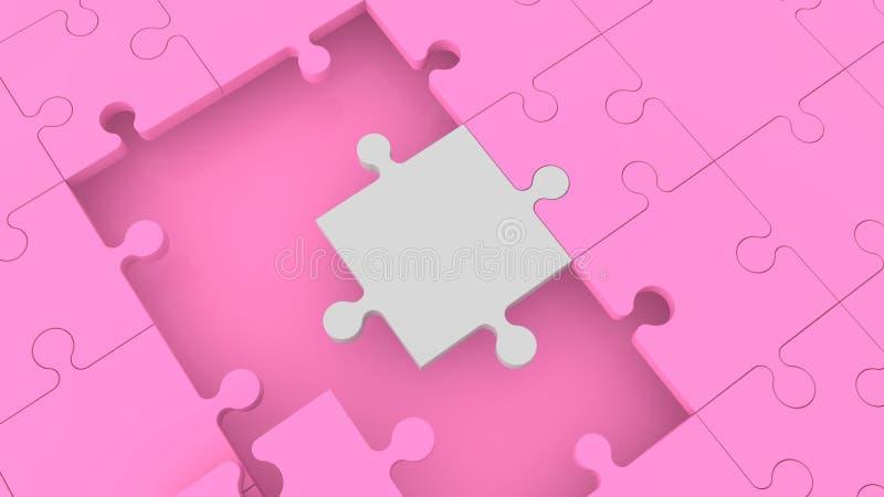 Konzept des rosa Puzzlespiels mit einem weißen Stück vektor abbildung