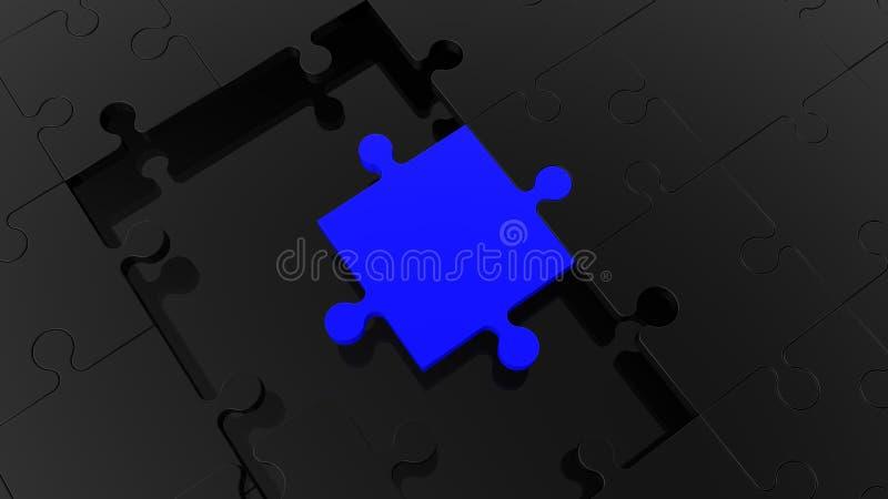 Konzept des schwarzen Puzzlespiels mit einem blauen Stück stock abbildung