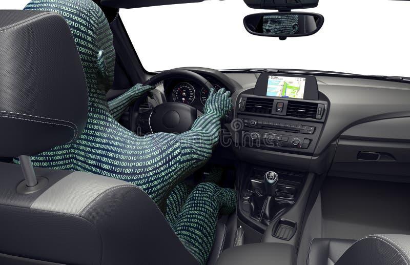 Konzept des selbst-treibenden Autos lizenzfreie abbildung
