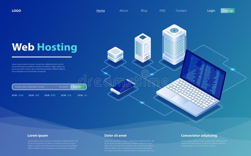 Konzept des Serverhostings r Isometrische Vektorillustration des Hostingservers lizenzfreie abbildung