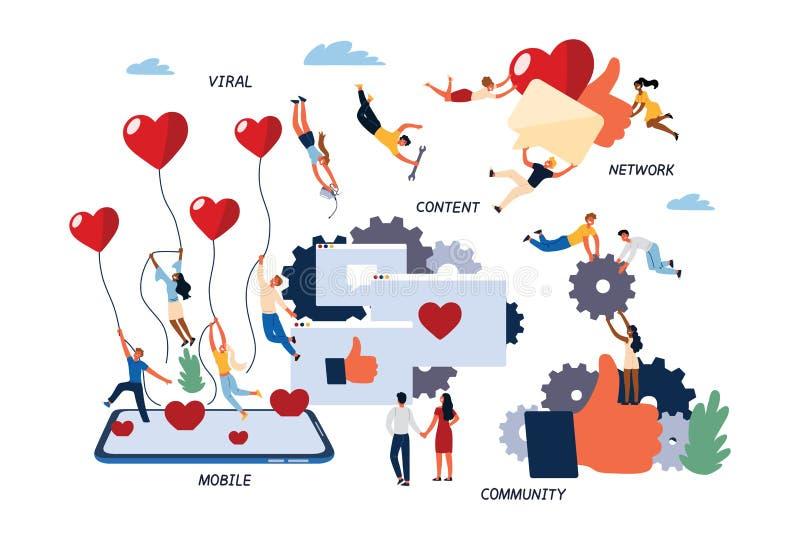 Konzept des Social Media-Marketings, SMM lizenzfreie abbildung