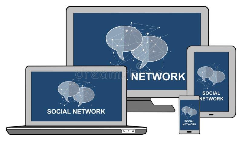 Konzept des Sozialen Netzes auf verschiedenen Ger?ten lizenzfreie abbildung