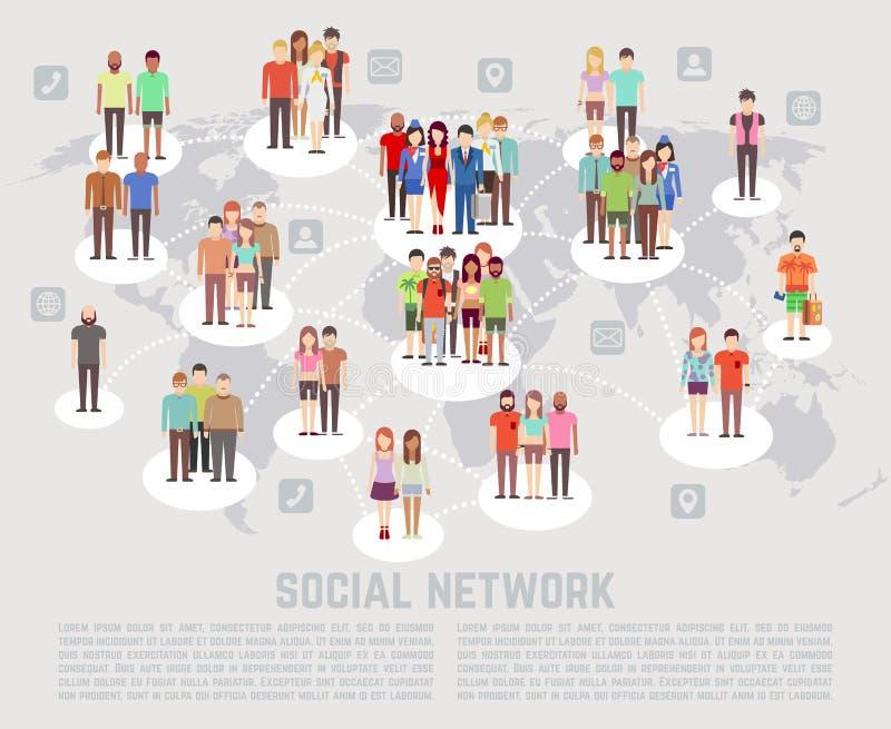 Konzept des Sozialen Netzes mit flachen Charakteren von Leuten stock abbildung