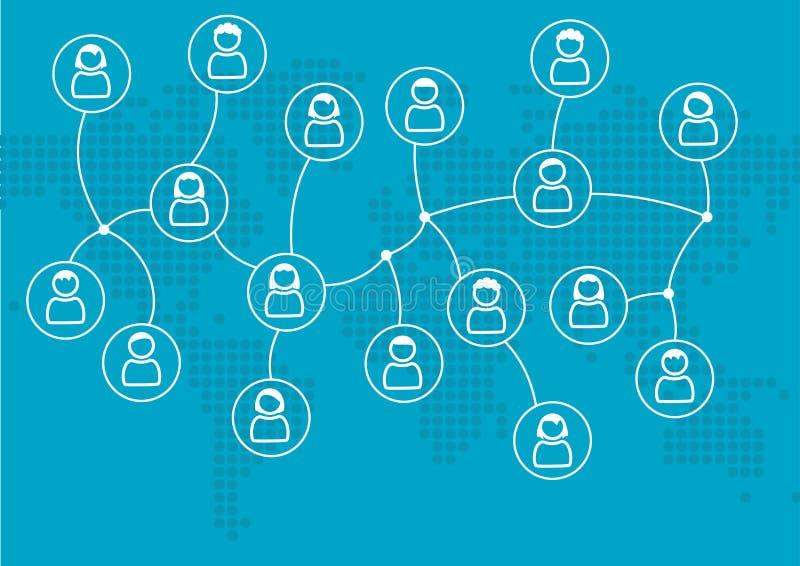 Konzept des Sozialen Netzes von global verbundenen Leuten oder von Kollegen Vektorillustration mit Weltkarte im flachen Design stock abbildung