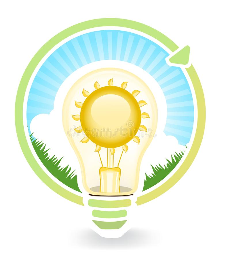 Konzept des Sparens der gr?nen Energie f?r Gl?hlampen , Illustrationen stock abbildung