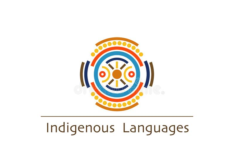 Konzept des Vektorlogos einheimische Sprach, 2019 internationales Jahr einheimische Sprachen lokalisiert auf weißem Hintergrund vektor abbildung