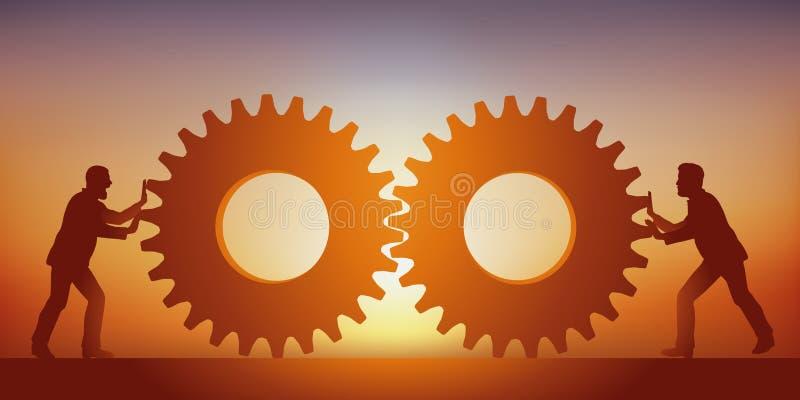 Konzept des Verbands, der Stärke mit zwei Männern ist, die ihr Wissen zusammenbringen, das durch zwei Gänge symbolisiert wird stock abbildung