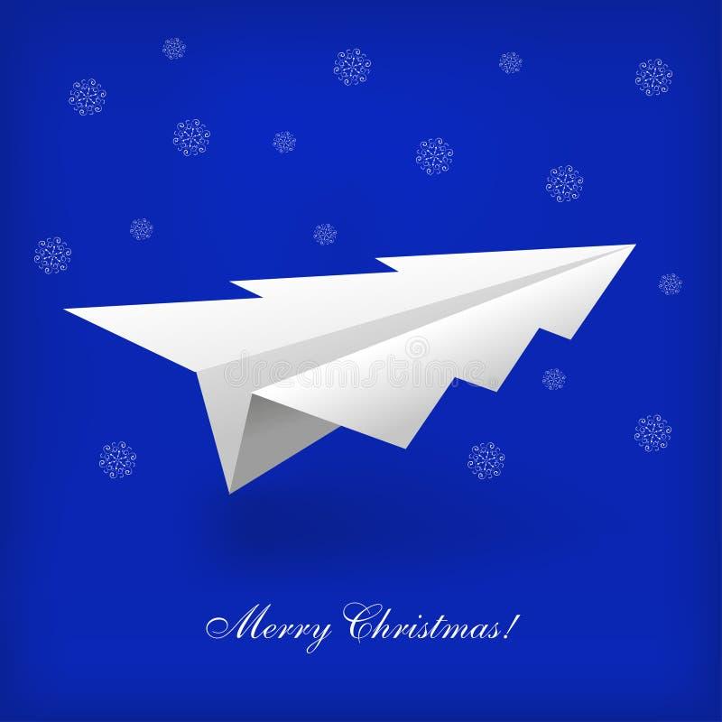 Konzept des Weihnachtsbaum- und origamiflugzeuges vektor abbildung