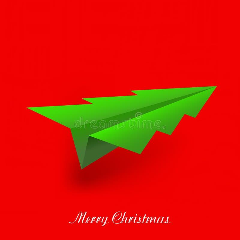 Konzept des Weihnachtsbaum- und origamiflugzeuges lizenzfreie abbildung
