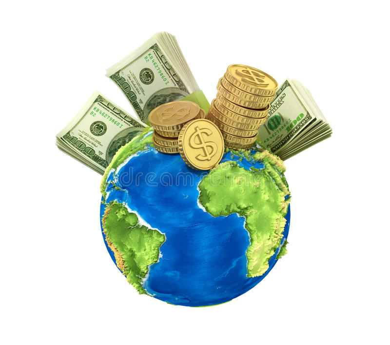 Konzept des Weltgeldes stockbilder