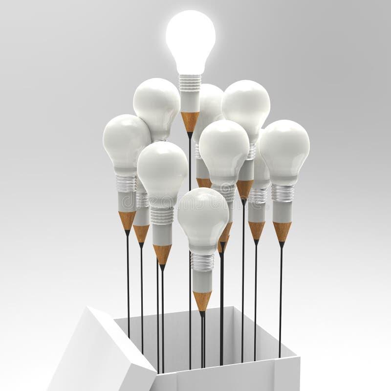 Konzept des Zeichnungsideen-Bleistifts und der Glühlampe außerhalb des Kastens als Cr lizenzfreie abbildung