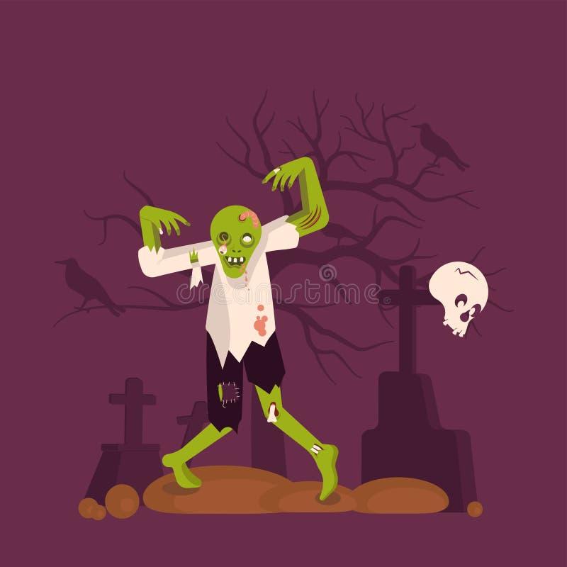 Konzept des Zombiemannes auf Kirchhofhintergrund vektor abbildung