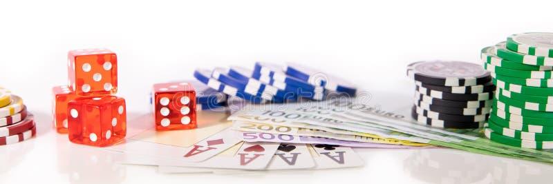 Konzept dobbleri och kasino, panorama med eurosedlar royaltyfri bild