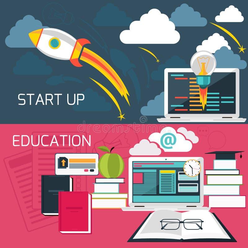 Konzept für Geschäft beginnen oben und on-line-Bildung stock abbildung