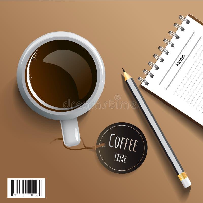 Konzept für Geschäft und Buchhaltung Kaffee und leere Notiz stock abbildung