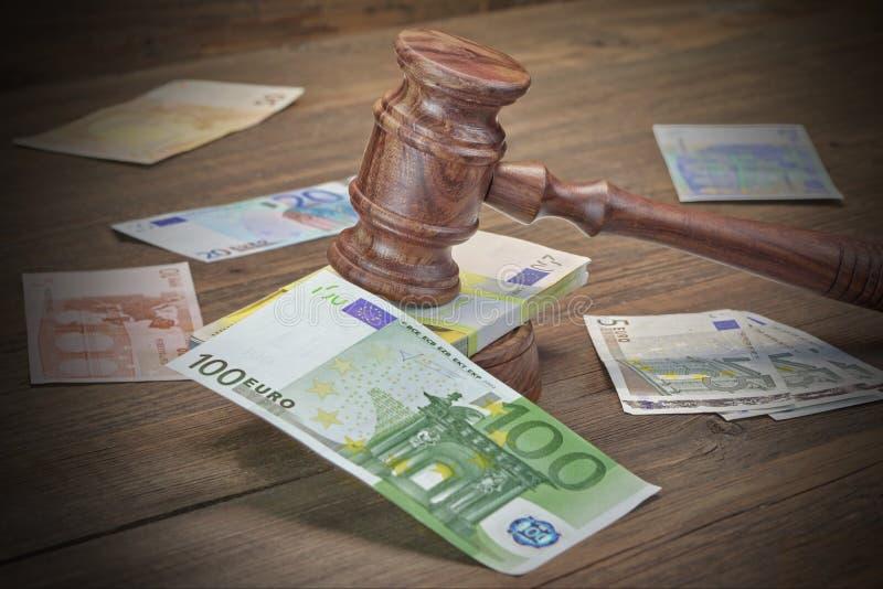 Konzept für Gesetz, Korruption, Konkurs, Kaution, Verbrechen, Betrug, Auc stockbild