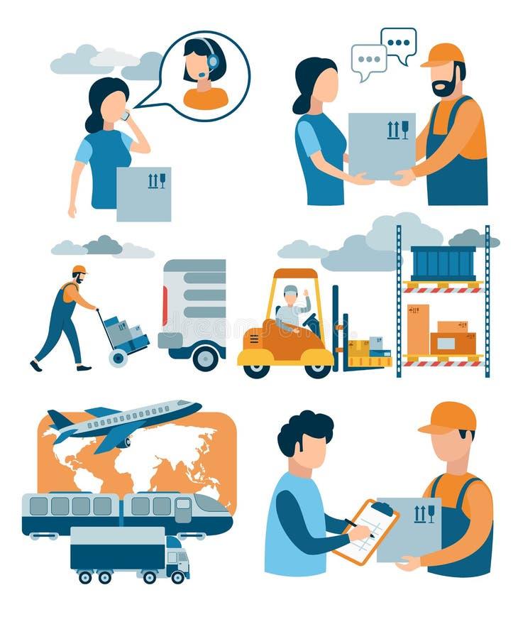 Konzept für Zustelldienst, E-Commerce, on-line-Einkaufen, Paket von Kurier zu Kunden empfangend lizenzfreie abbildung