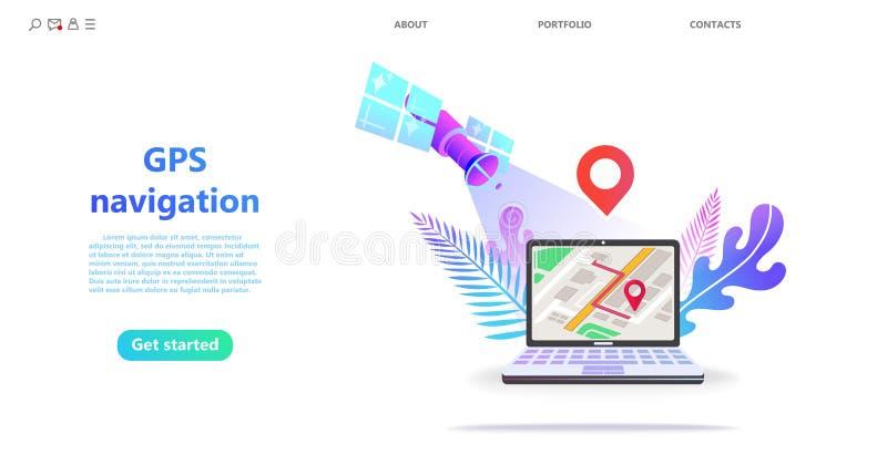 Konzept GPS-Navigation, Punktstandort auf einem Stadtplan lizenzfreie abbildung