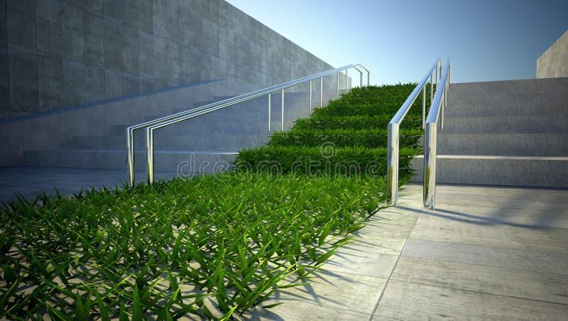 Konzept, Gras und Treppen der Ökologie 3d auf Straße lizenzfreie stockbilder