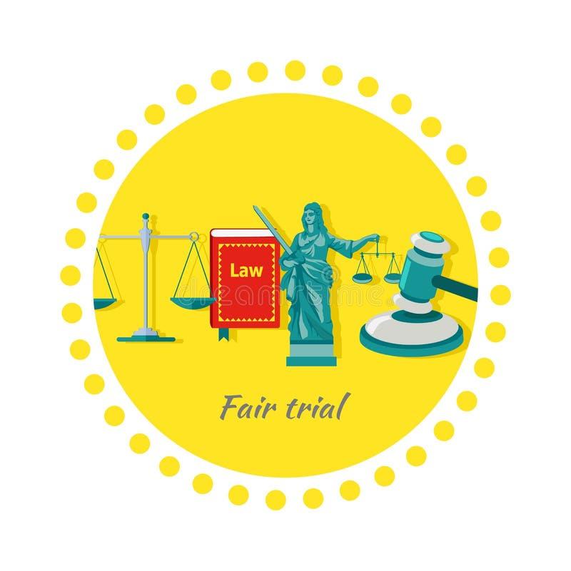 Konzept-Ikonen-flaches Design des fairen Gerichtsverfahrens stock abbildung