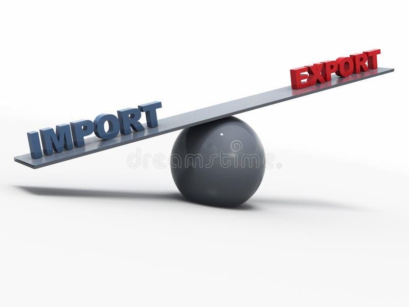 Konzept Import-export Balancen-3D lizenzfreie stockbilder