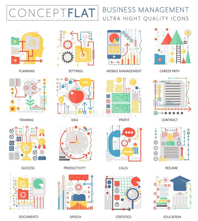 KONZEPT Infographics Minigeschäftsführungsikonen für Netz Erstklassige Qualitätsfarbflache Design-Netzbegrifflichgraphiken lizenzfreie abbildung