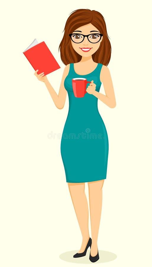 Konzept, junges Gesch?ftsmannm?dchen Ein M?dchen mit einem Tasse Kaffee in ihrer Hand und im Ablesen eines Buches Gesch?ft und Fi lizenzfreies stockfoto
