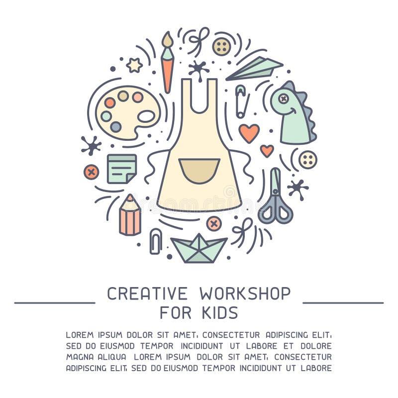 Konzept Kinderdes kreativen Werkstattplakats mit Beispieltext und -material für kreative Tätigkeit stock abbildung